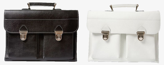 The Last Bag in black and white leather