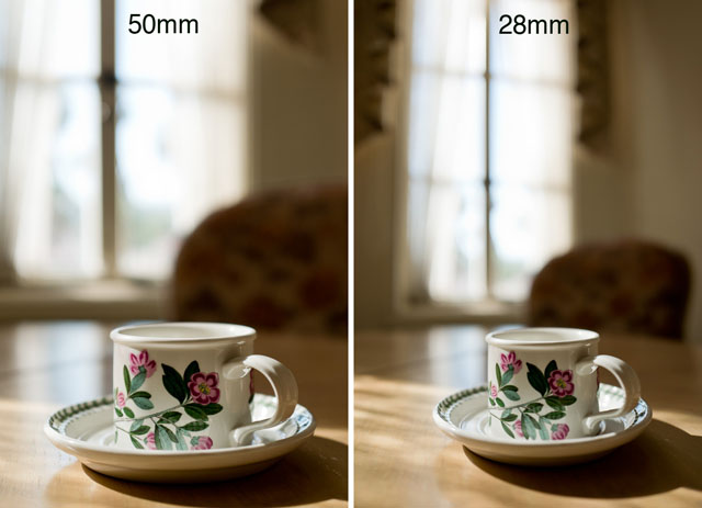 Perspective distortion: Comparing these two photographs you can see how the cup stretches in the 28mm wide angle photograph compared to the 50mm photograph. Both actually has a little stretch because both the cup is in the edge of the frame in both photographs. © 2017 Thorsten Overgaard.