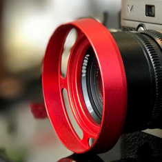 E46 RED ventilated lens shade on Leica 50mm Summilux-M ASPH f/1.4